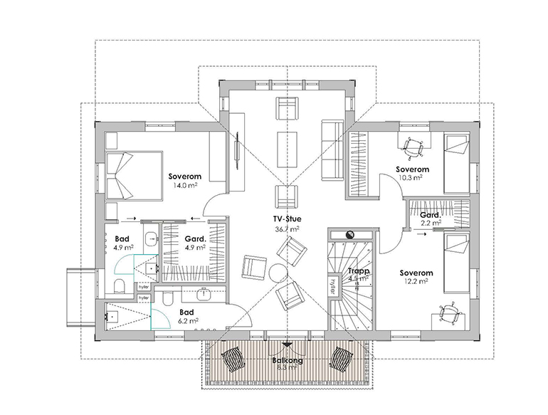 STORFJORD first floor plan with TV area