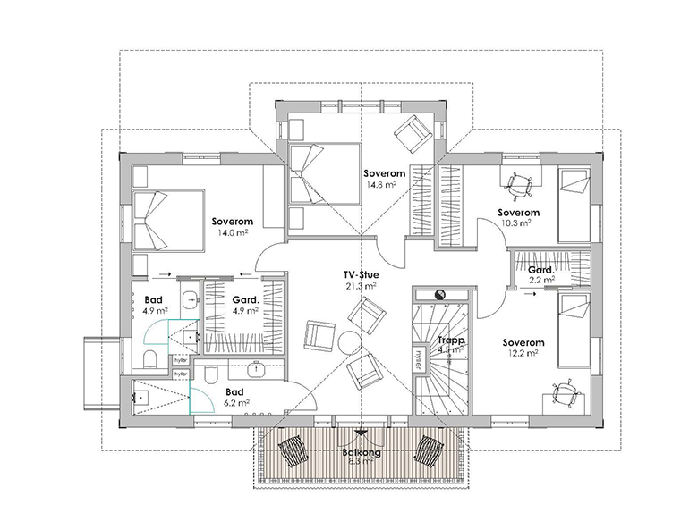 STORFJORD first floor plan with fifth bedroom